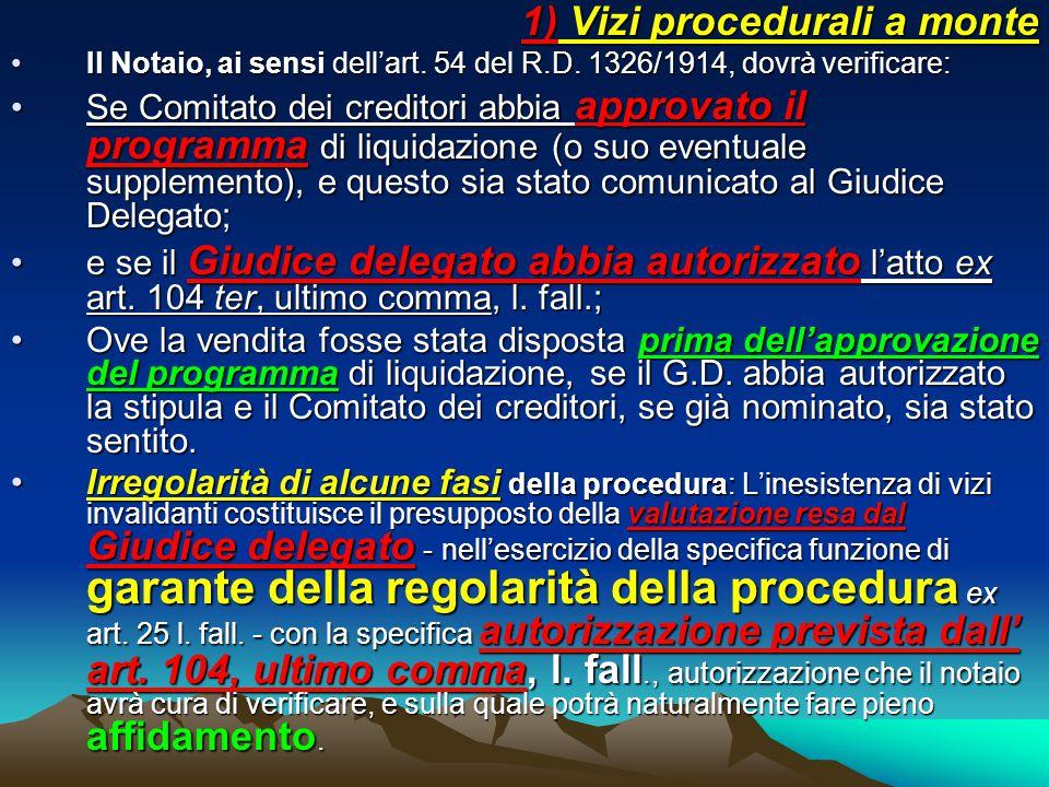 1) Vizi procedurali a monte