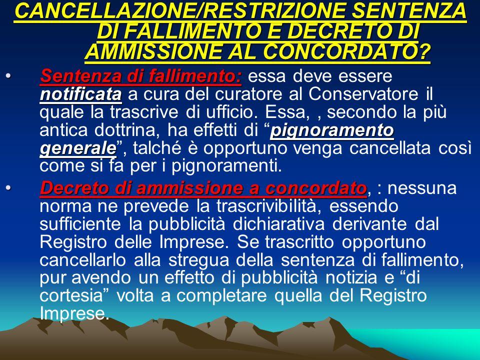 CANCELLAZIONE/RESTRIZIONE SENTENZA DI FALLIMENTO E DECRETO DI AMMISSIONE AL CONCORDATO