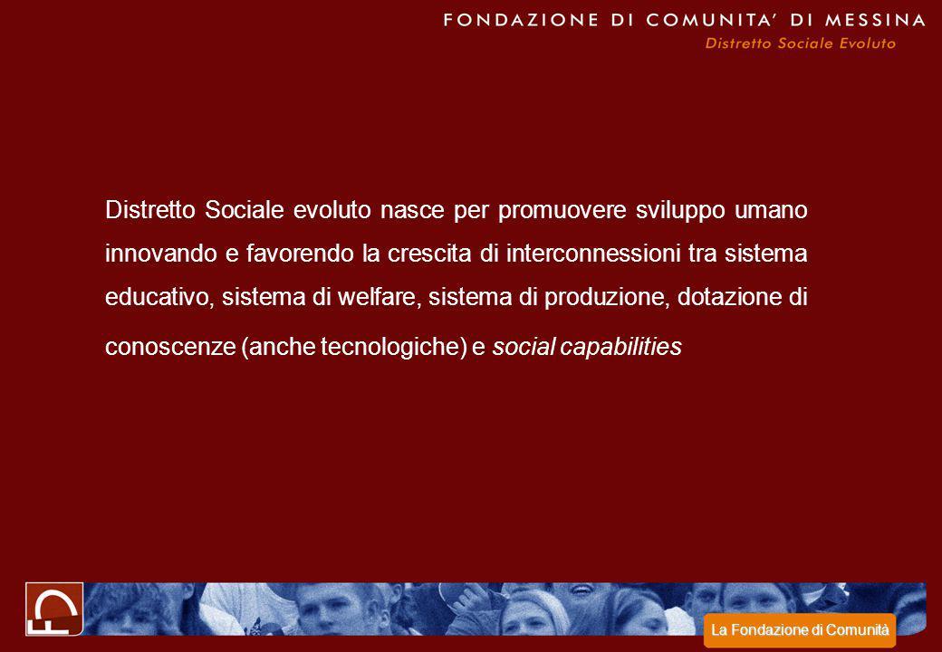 Distretto Sociale evoluto nasce per promuovere sviluppo umano innovando e favorendo la crescita di interconnessioni tra sistema educativo, sistema di welfare, sistema di produzione, dotazione di conoscenze (anche tecnologiche) e social capabilities