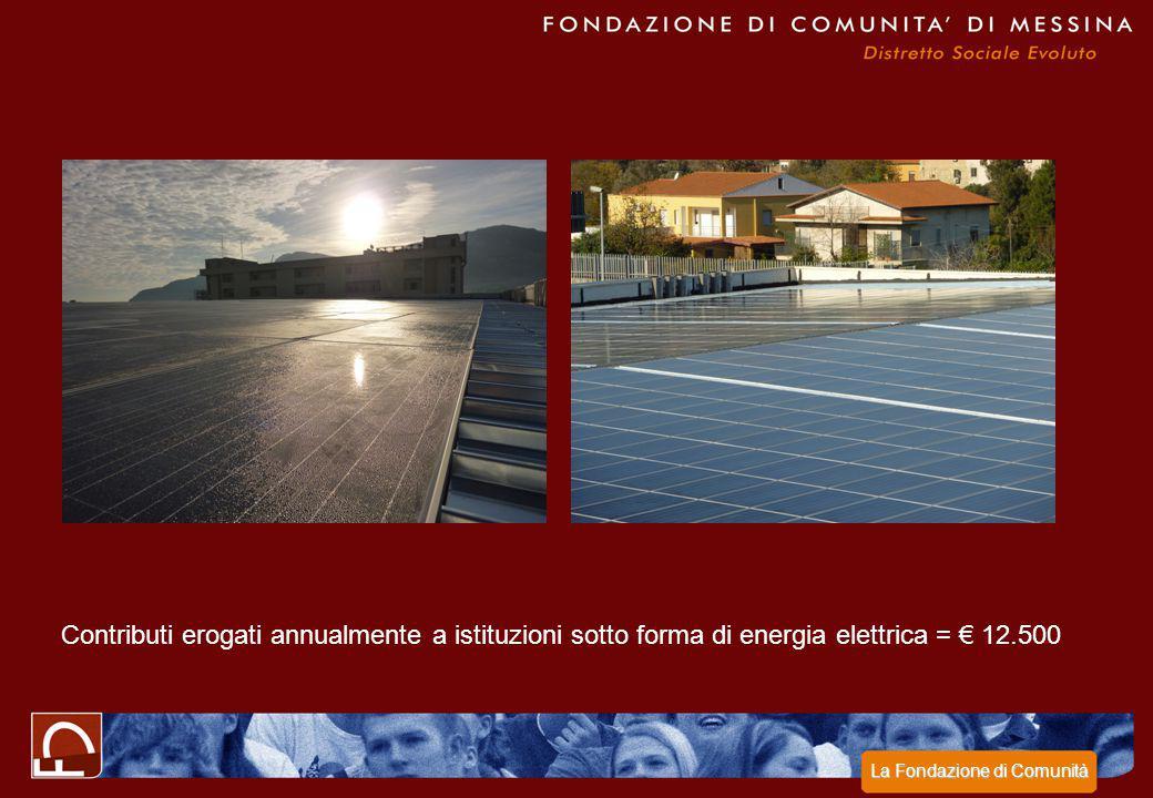 Contributi erogati annualmente a istituzioni sotto forma di energia elettrica = € 12.500