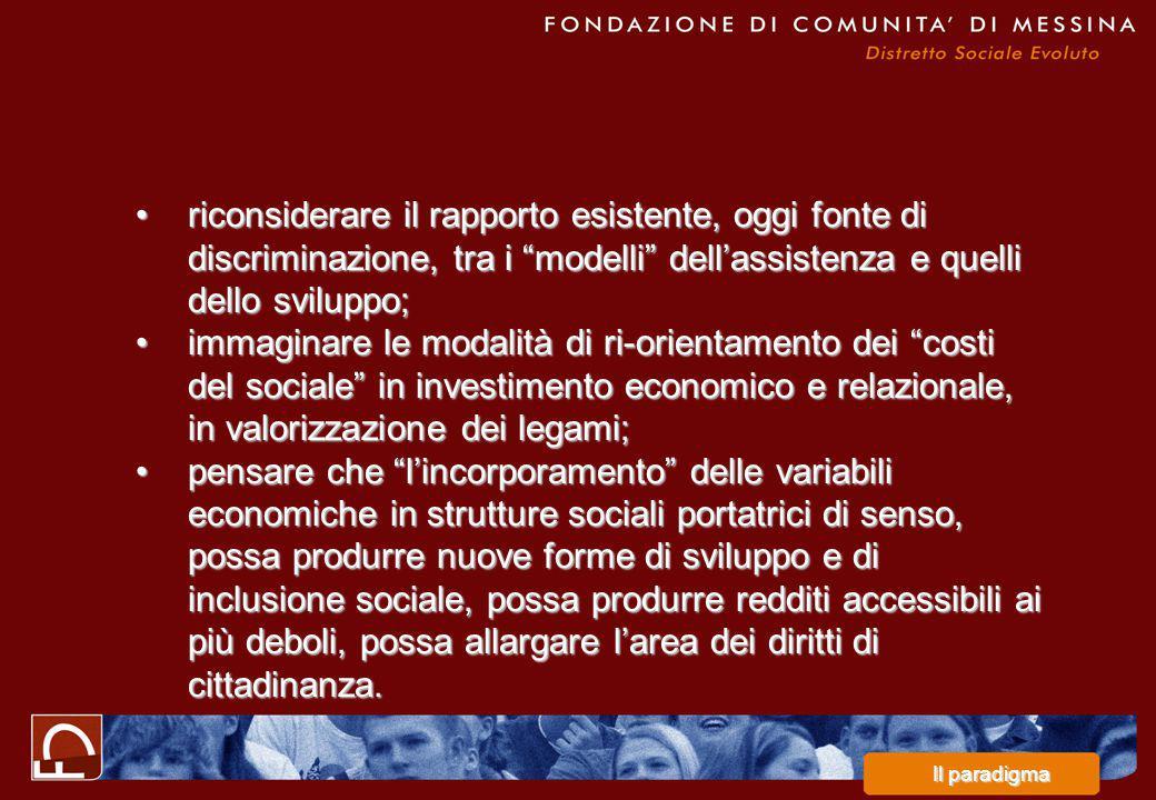 riconsiderare il rapporto esistente, oggi fonte di discriminazione, tra i modelli dell'assistenza e quelli dello sviluppo;