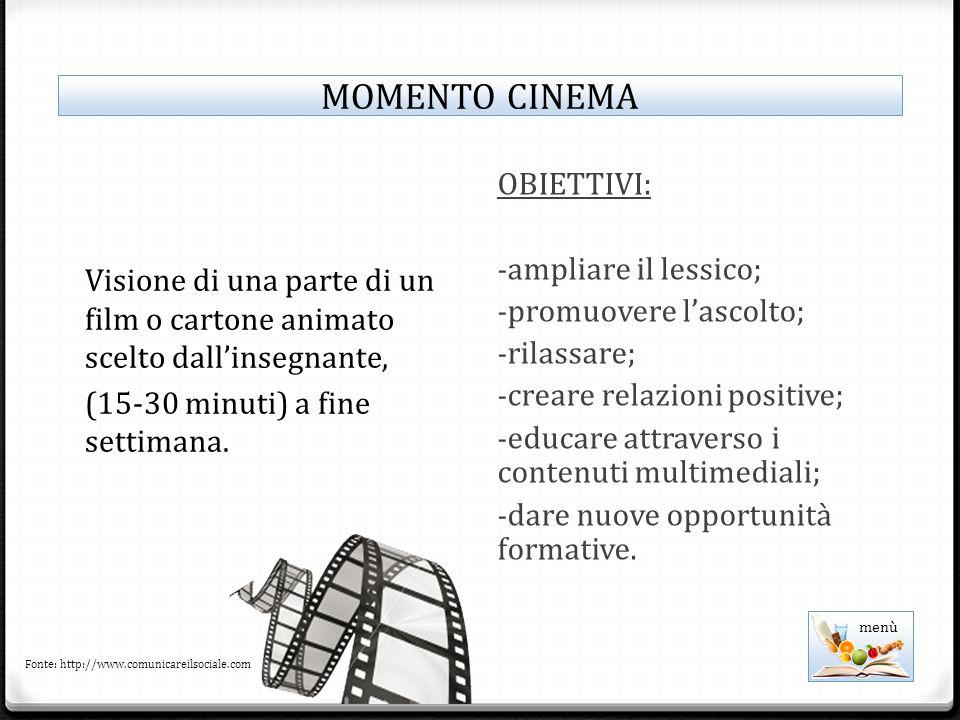 MOMENTO CINEMA OBIETTIVI: ampliare il lessico; promuovere l'ascolto;