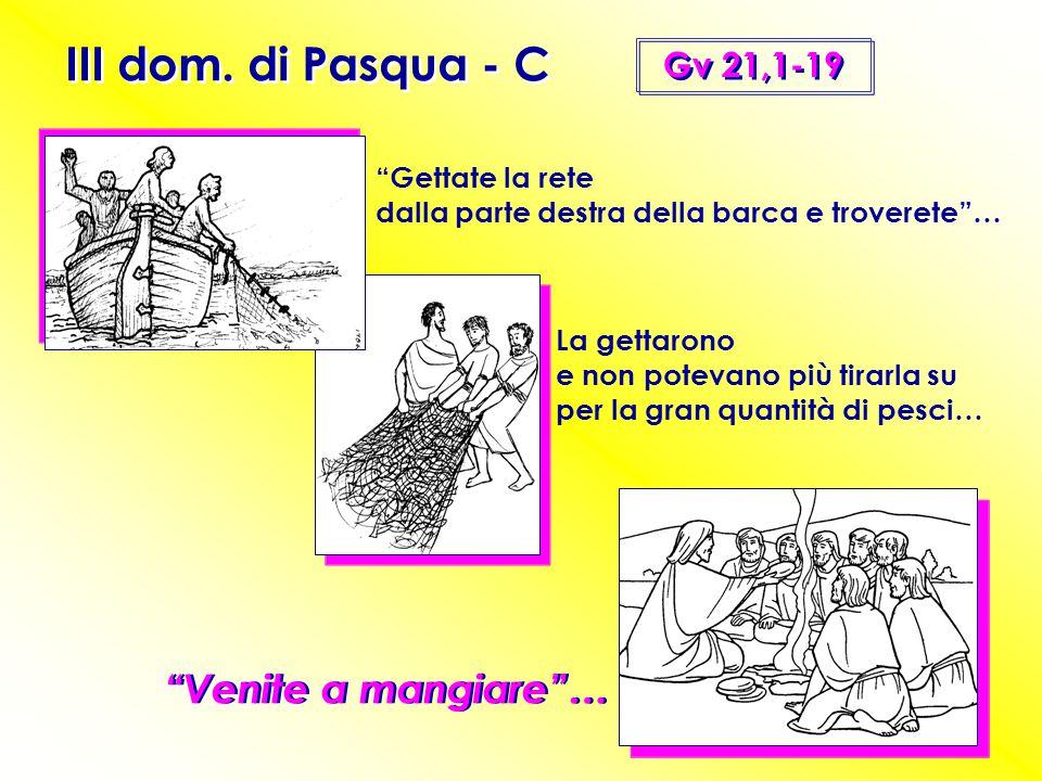 III dom. di Pasqua - C Venite a mangiare … Gv 21,1-19