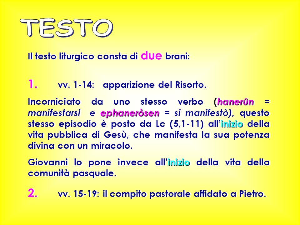 TESTO 1. vv. 1-14: apparizione del Risorto.