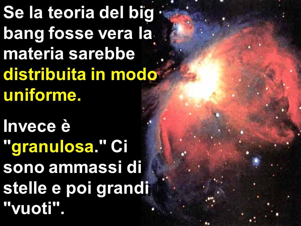 Se la teoria del big bang fosse vera la materia sarebbe distribuita in modo uniforme.