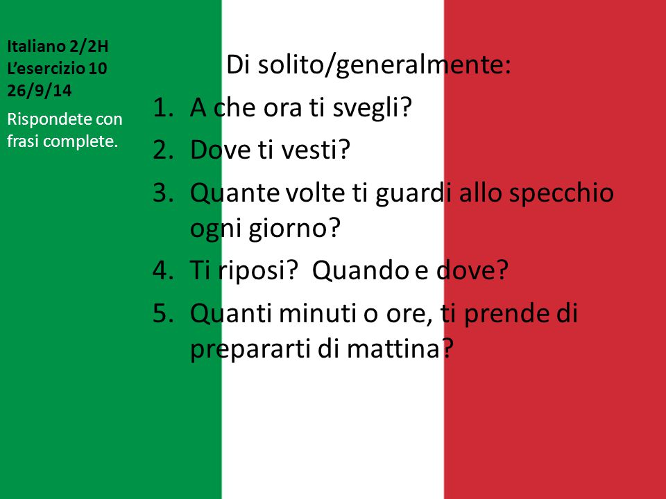 Italiano 2/2H L'esercizio 10 26/9/14