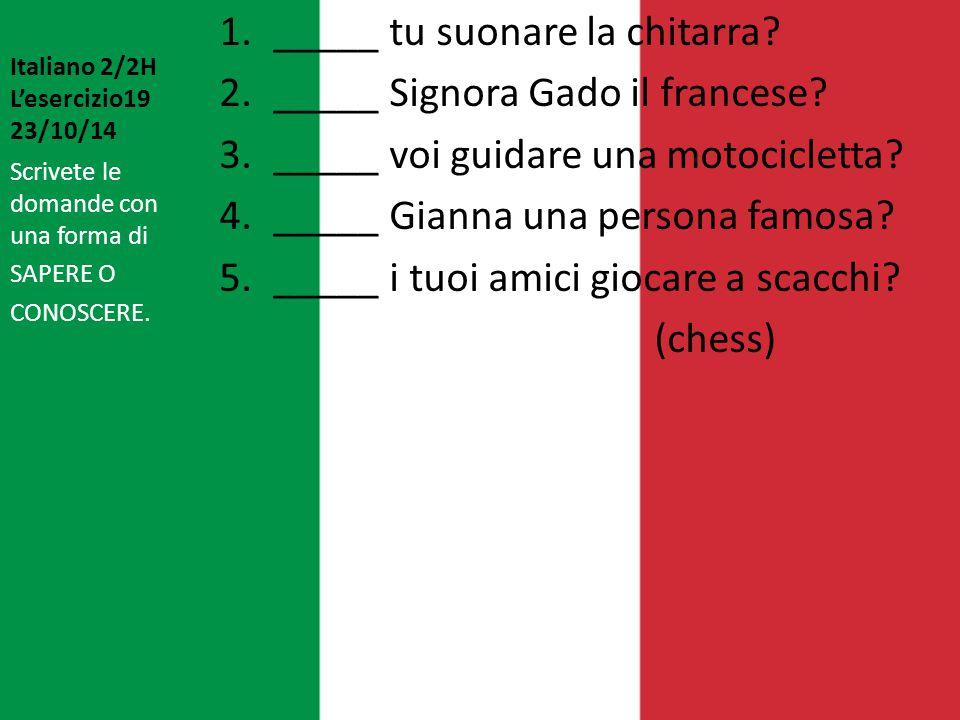 Italiano 2/2H L'esercizio19 23/10/14