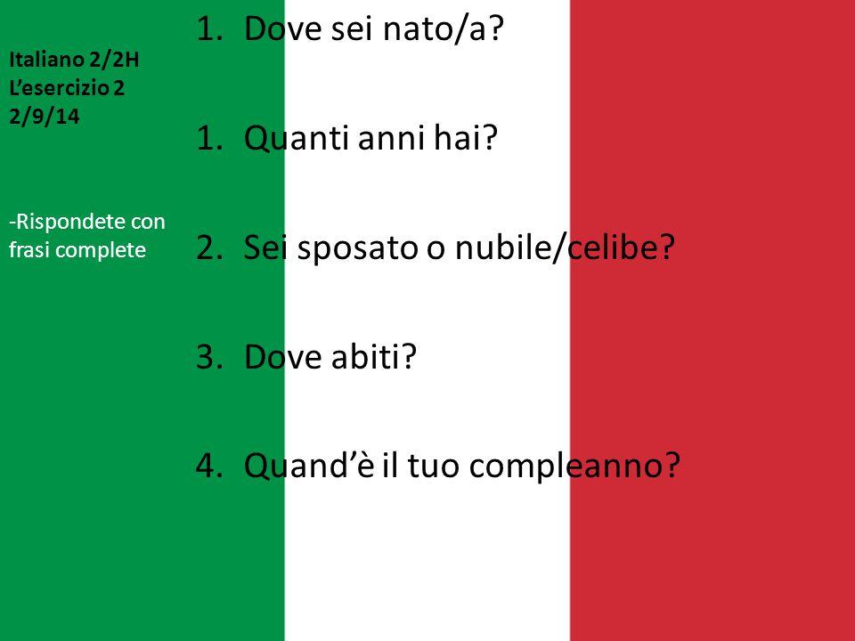 Italiano 2/2H L'esercizio 2 2/9/14