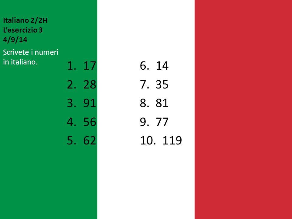 Italiano 2/2H L'esercizio 3 4/9/14