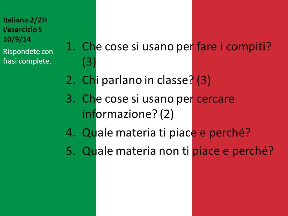 Italiano 2/2H L'esercizio 5 10/9/14