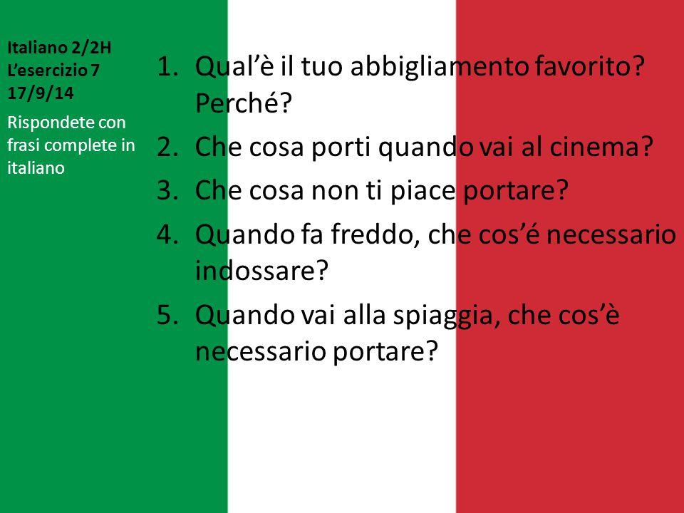 Italiano 2/2H L'esercizio 7 17/9/14
