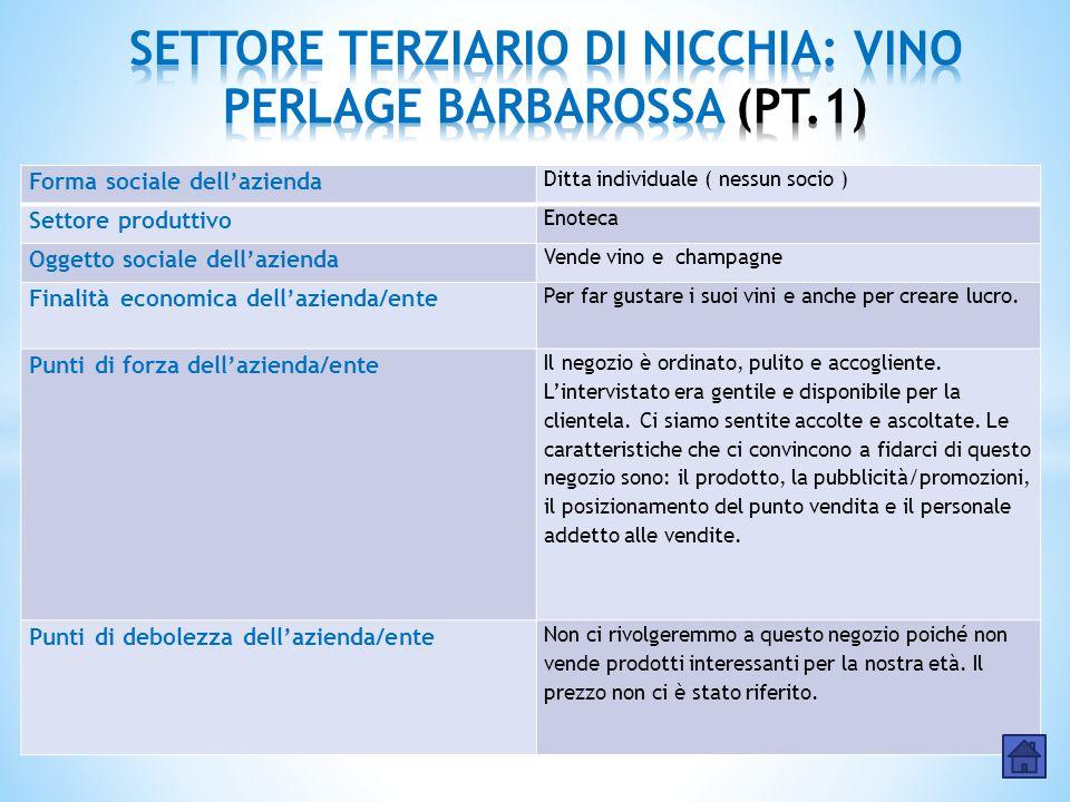 SETTORE TERZIARIO DI NICCHIA: VINO PERLAGE BARBAROSSA (PT.1)