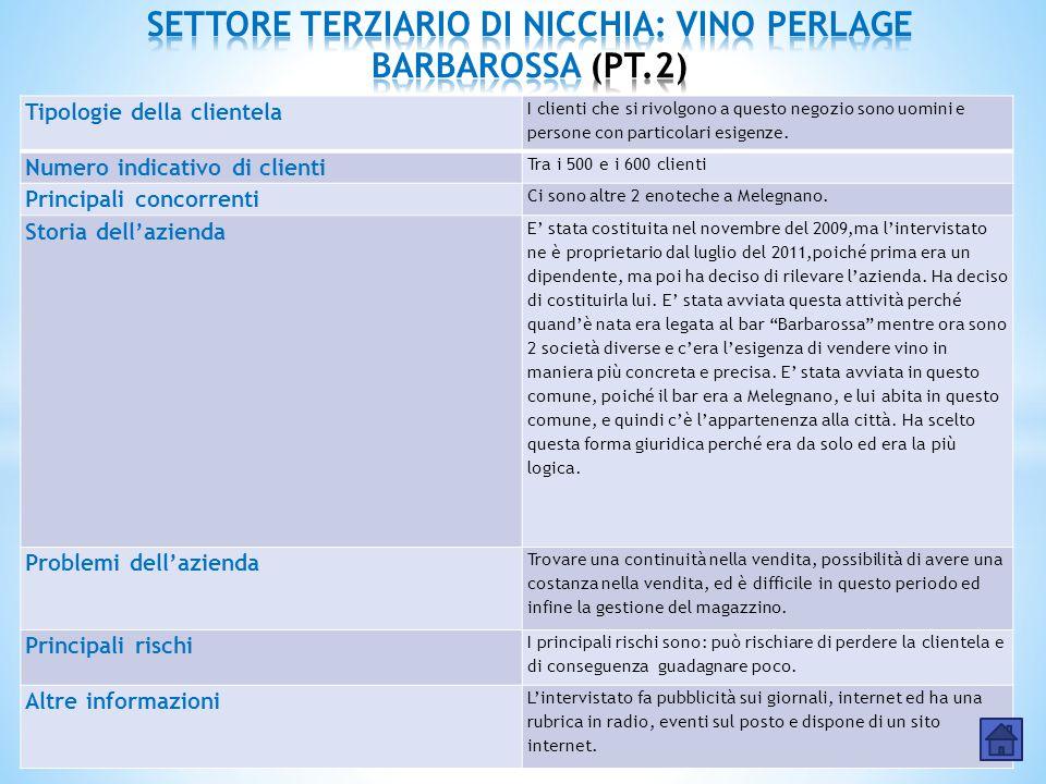 SETTORE TERZIARIO DI NICCHIA: VINO PERLAGE BARBAROSSA (PT.2)