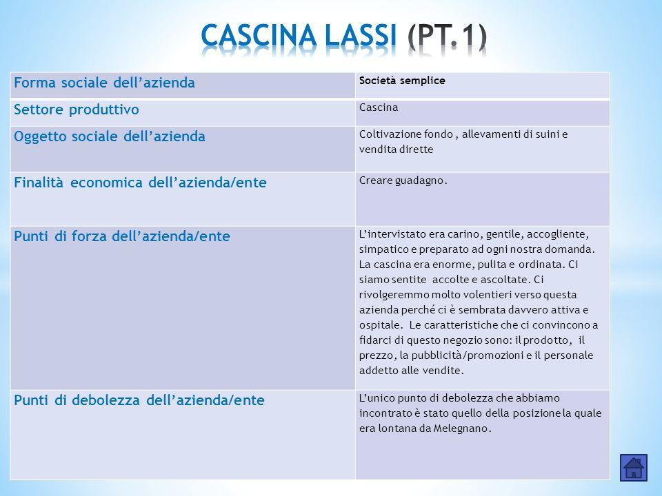 CASCINA LASSI (PT.1) Forma sociale dell'azienda Settore produttivo