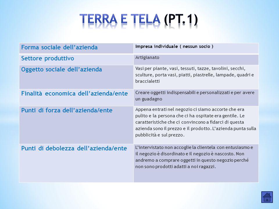 TERRA E TELA (PT.1) Forma sociale dell'azienda Settore produttivo