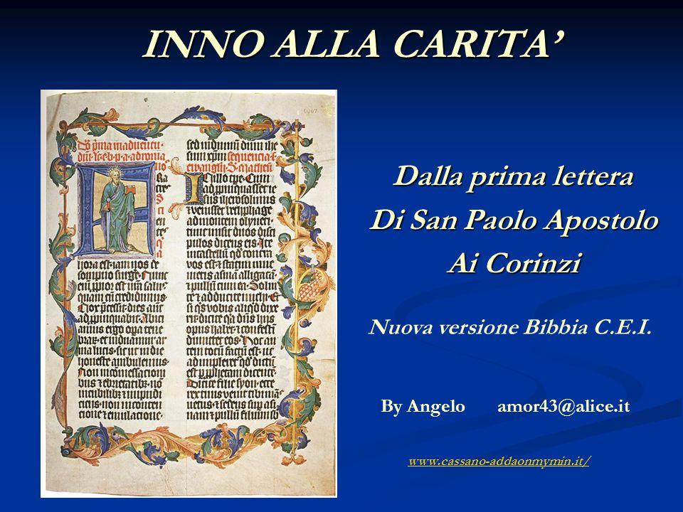 Dalla prima lettera Di San Paolo Apostolo Ai Corinzi