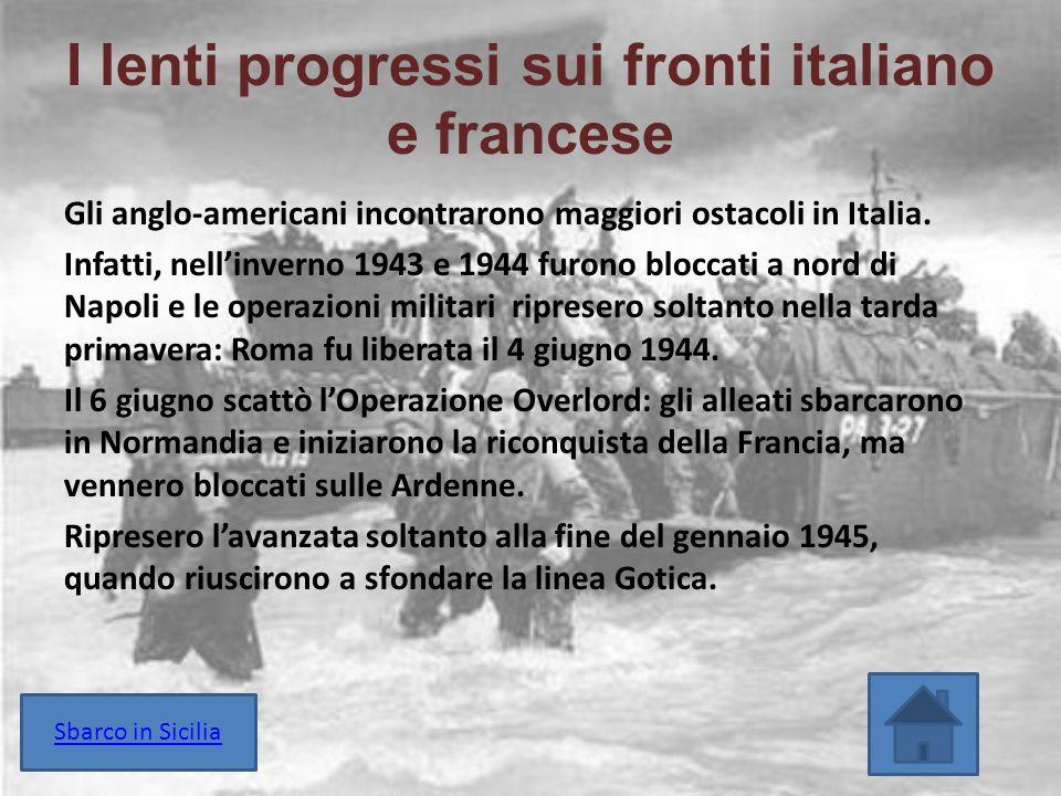 I lenti progressi sui fronti italiano e francese