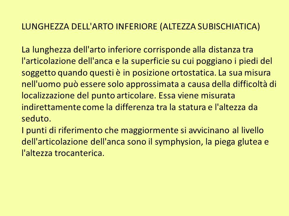 LUNGHEZZA DELL ARTO INFERIORE (ALTEZZA SUBISCHIATICA)