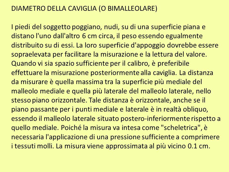 DIAMETRO DELLA CAVIGLIA (O BIMALLEOLARE)