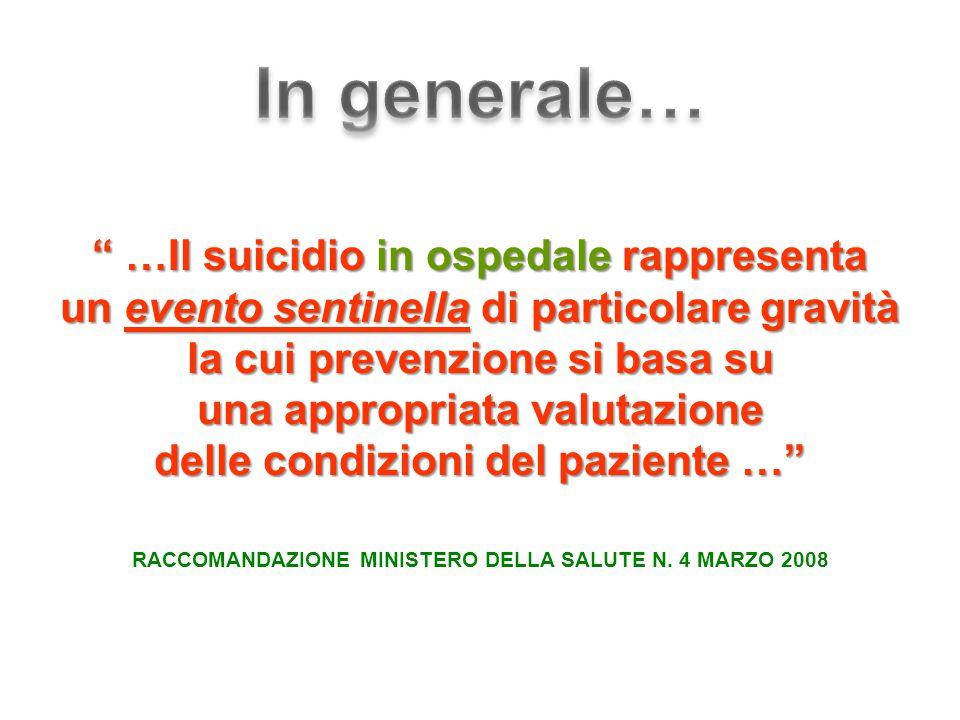 In generale… …Il suicidio in ospedale rappresenta