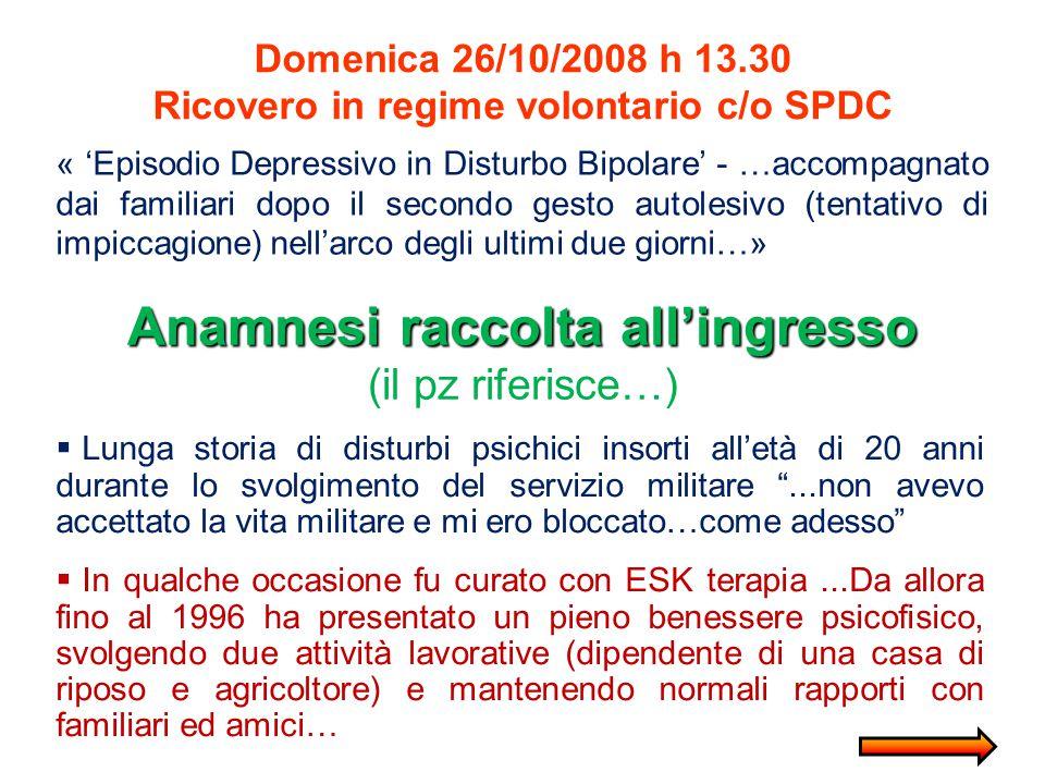 Domenica 26/10/2008 h 13.30 Ricovero in regime volontario c/o SPDC