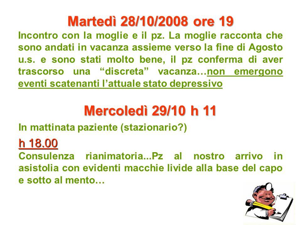 Martedì 28/10/2008 ore 19 Mercoledì 29/10 h 11