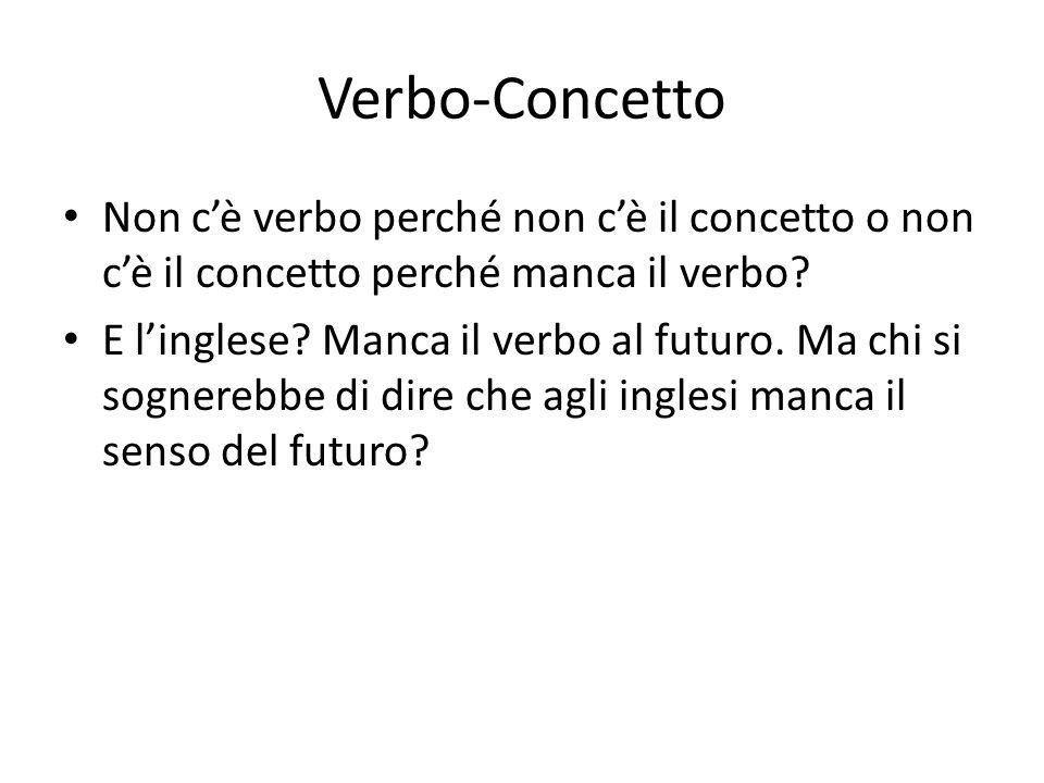 Verbo-Concetto Non c'è verbo perché non c'è il concetto o non c'è il concetto perché manca il verbo