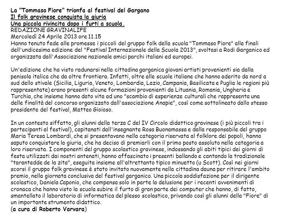 La Tommaso Fiore trionfa al festival del Gargano