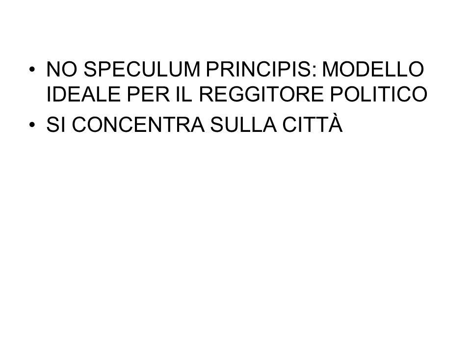 NO SPECULUM PRINCIPIS: MODELLO IDEALE PER IL REGGITORE POLITICO
