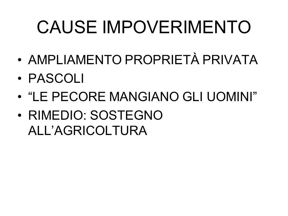CAUSE IMPOVERIMENTO AMPLIAMENTO PROPRIETÀ PRIVATA PASCOLI