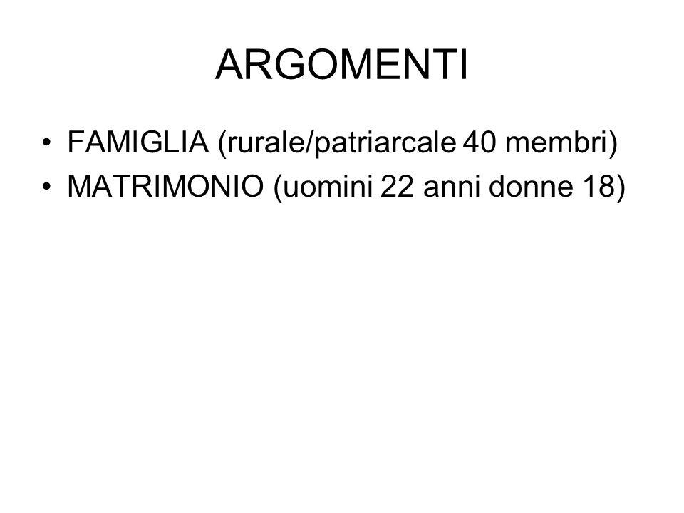 ARGOMENTI FAMIGLIA (rurale/patriarcale 40 membri)