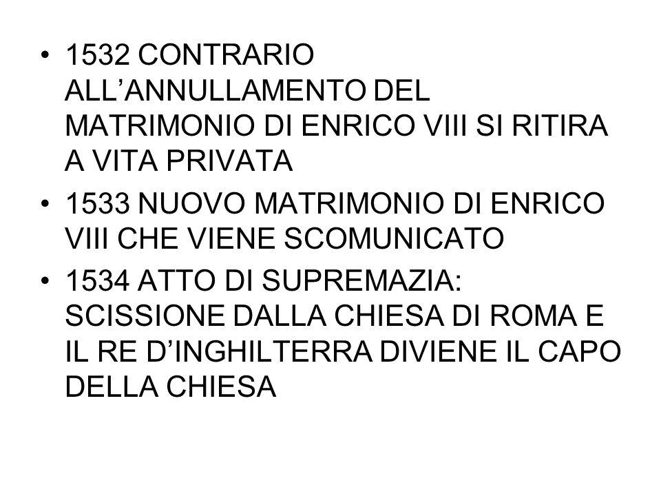 1532 CONTRARIO ALL'ANNULLAMENTO DEL MATRIMONIO DI ENRICO VIII SI RITIRA A VITA PRIVATA