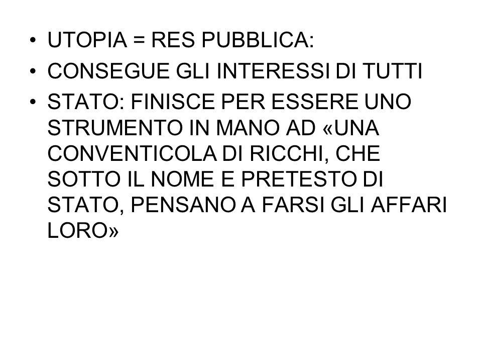 UTOPIA = RES PUBBLICA: CONSEGUE GLI INTERESSI DI TUTTI.