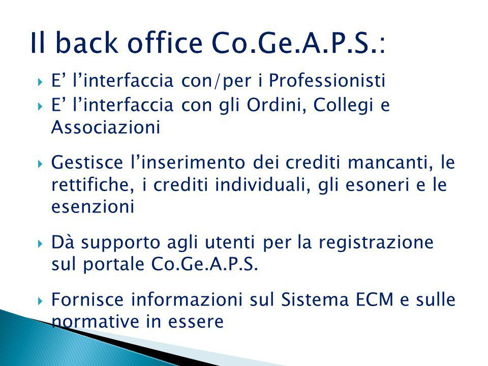 Il back office Co.Ge.A.P.S.: