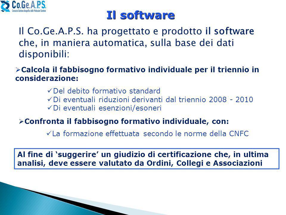 Il software Il Co.Ge.A.P.S. ha progettato e prodotto il software che, in maniera automatica, sulla base dei dati disponibili: