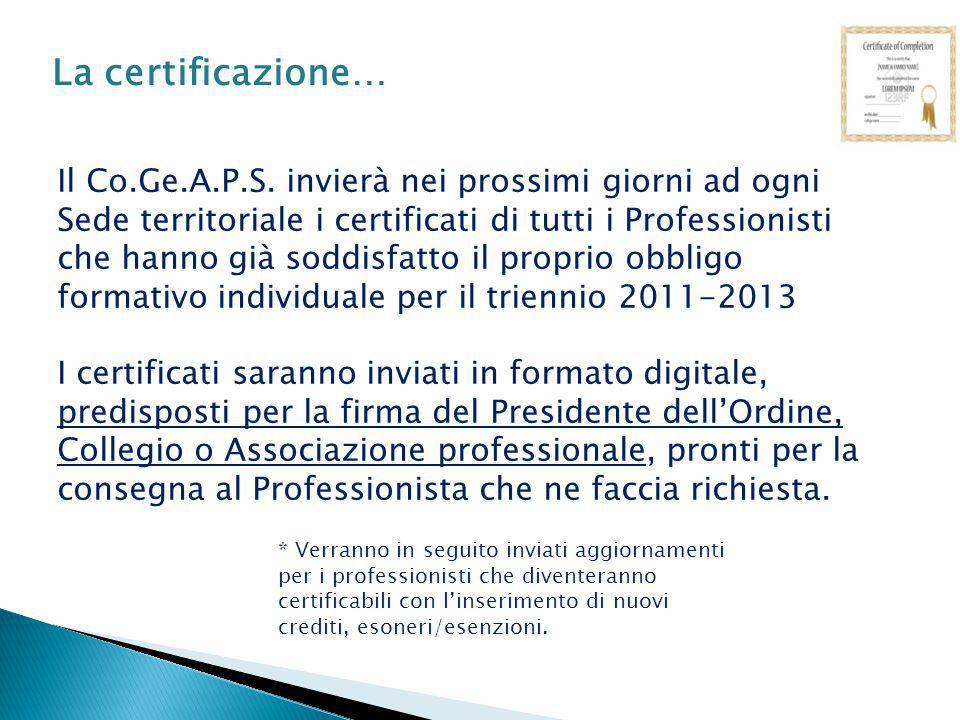 La certificazione…