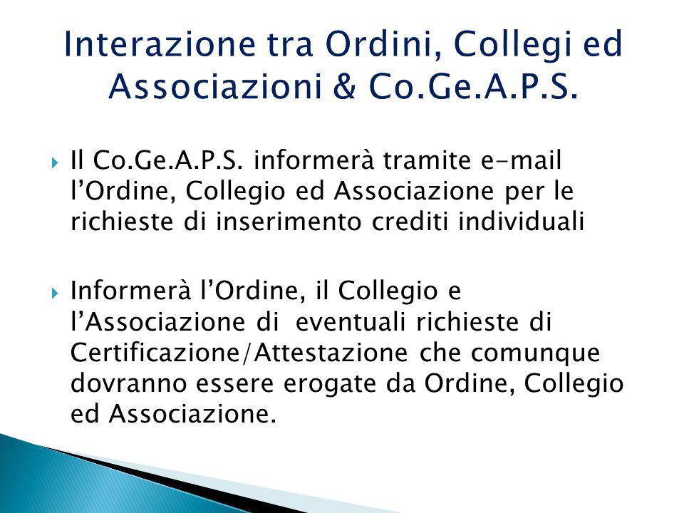 Interazione tra Ordini, Collegi ed Associazioni & Co.Ge.A.P.S.