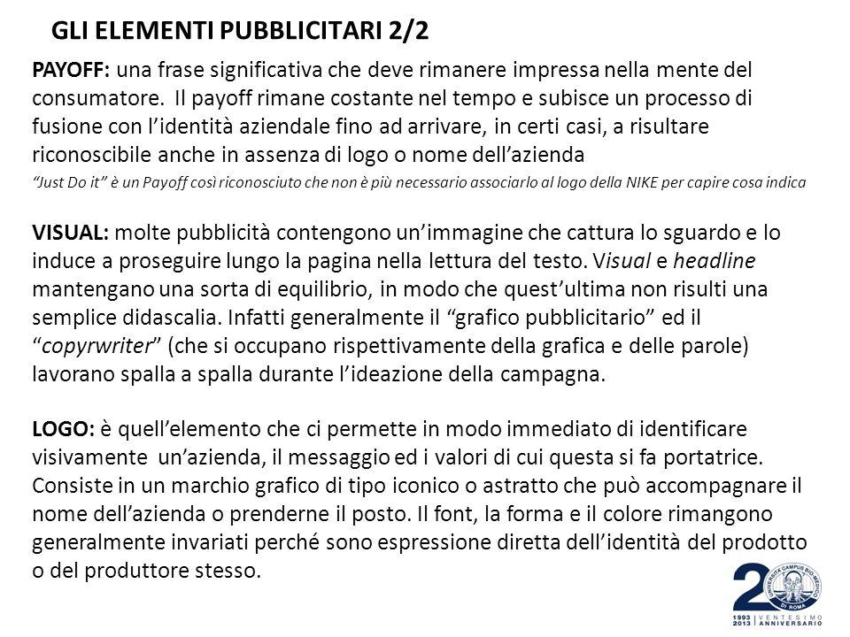 GLI ELEMENTI PUBBLICITARI 2/2