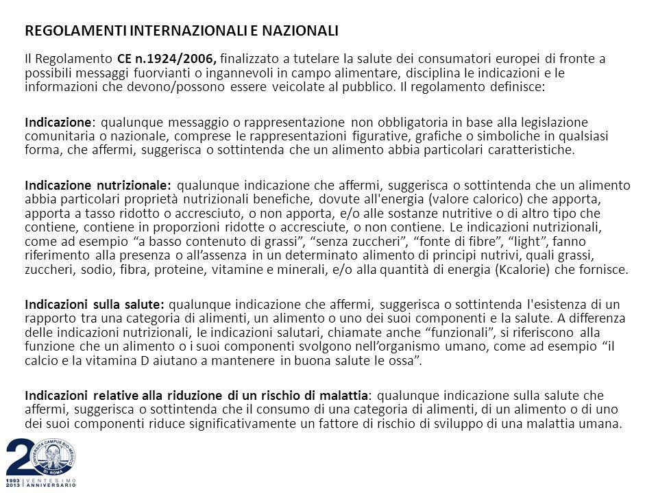 REGOLAMENTI INTERNAZIONALI E NAZIONALI