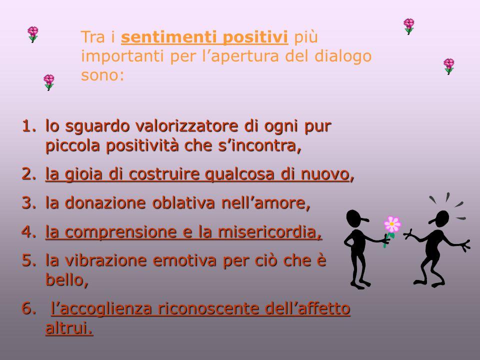 Tra i sentimenti positivi più importanti per l'apertura del dialogo sono: