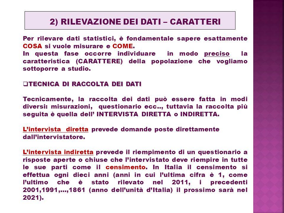 2) RILEVAZIONE DEI DATI – CARATTERI