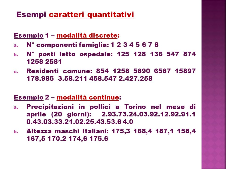 Esempi caratteri quantitativi