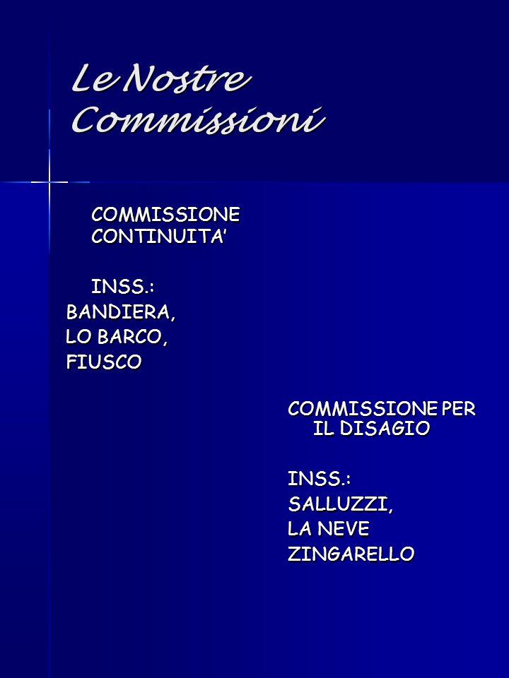 Le Nostre Commissioni COMMISSIONE CONTINUITA' INSS.: BANDIERA,
