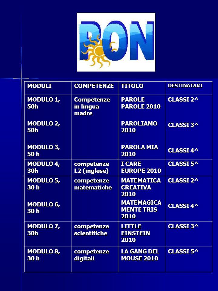 Competenze in lingua madre PAROLE PAROLE 2010