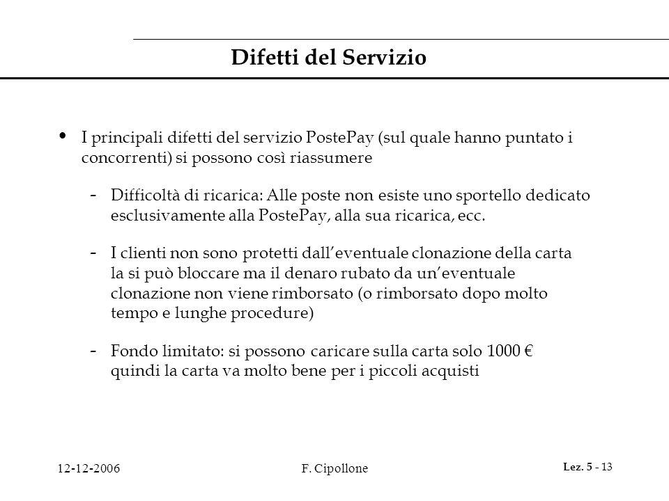 Difetti del Servizio I principali difetti del servizio PostePay (sul quale hanno puntato i concorrenti) si possono così riassumere.