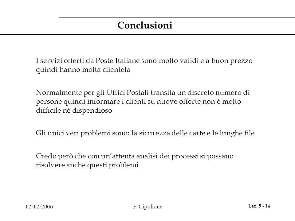 Conclusioni I servizi offerti da Poste Italiane sono molto validi e a buon prezzo quindi hanno molta clientela.