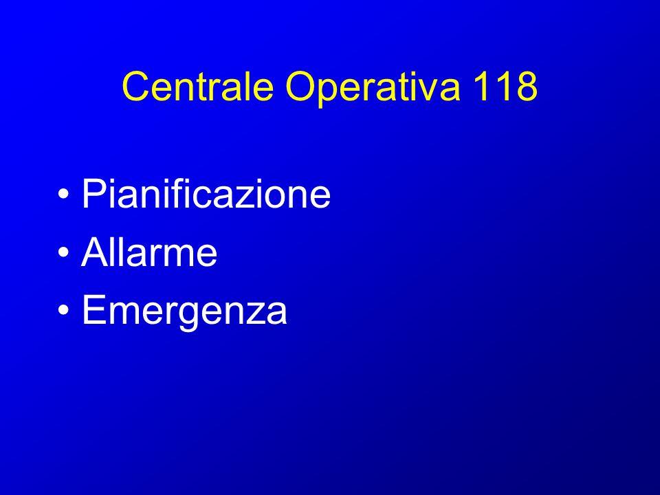 Centrale Operativa 118 Pianificazione Allarme Emergenza