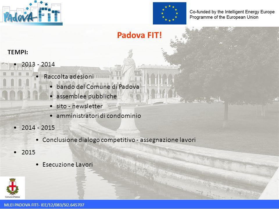 Padova FIT! TEMPI: 2013 - 2014 Raccolta adesioni