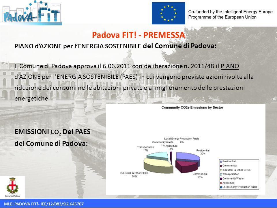 Padova FIT! - PREMESSA EMISSIONI CO2 Del PAES del Comune di Padova: