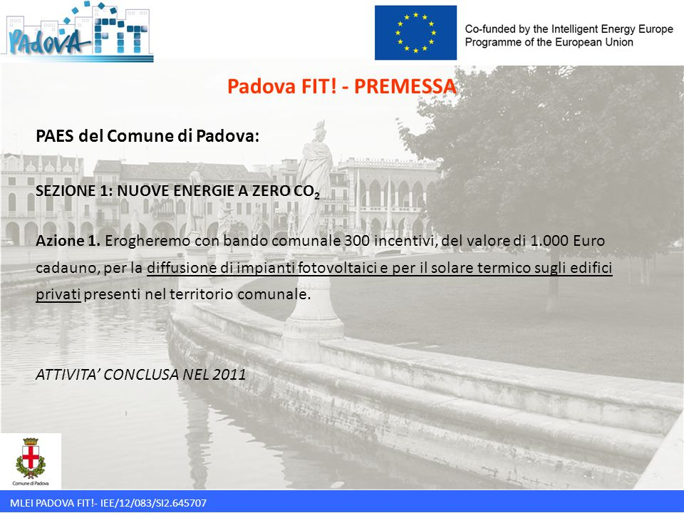 Padova FIT! - PREMESSA PAES del Comune di Padova: